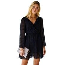 Женское Короткое платье трапеция с v образным вырезом и оборками