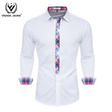 VISADA JUANA 2019 Men Shirts Long Sleeve Fashion Men's Casual Shirts Luxury Stylish Dress Shirts Slim Fit Men 100 Cotton Clothes(China)