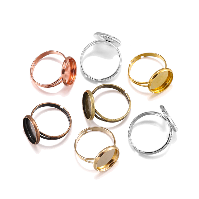 10pcs/lot Adjustable Blank Ring Base Fit Dia 10 12 14 16 18 20 25 mm Glass Cabochons Cameo Settings Tray Diy Jewelry Making Ring