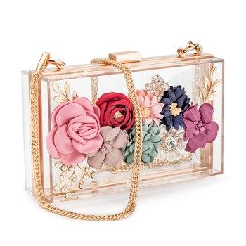 Bolso de mano de acrílico con flores para mujer, bolso cruzado, bolsos de noche, correa de cadena para boda, baile de graduación, banquete, Ideal como regalo, marco dorado