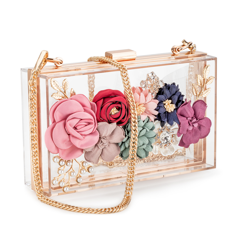 Crossbody Purse Chain-Strap Clutches Flower Evening-Bags Golden-Frame Wedding-Prom Acrylic title=