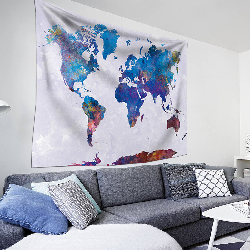 New150*200cm World Map Printing Tapestry, Blanket Wall Blanket, Cloth, Hair Towel, Home Hanging Painting, Decorating Table Cloth