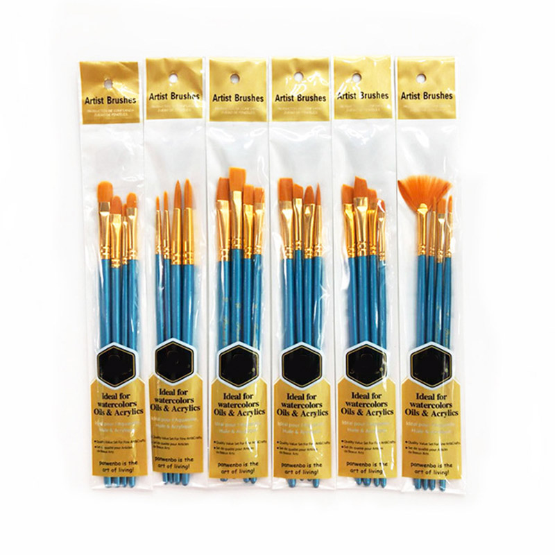 4Pcs Wooden Handle Portable  Oil Painting Brushes Drawing Art Supplie Drawing Pen Nylon Hair Aluminum Tube Artist Paint Brush