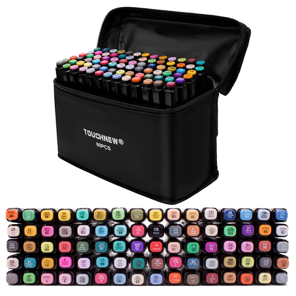 TOUCHFIVE Markers Pen 60 80 Color Art Sketch Twin Marker Pens Broad Fine Point Graphic Manga Anime Markers Graffiti Art Supplies