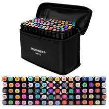Touchfive marcadores caneta 36 60 80 168 cores arte esboço gêmeo marcador canetas ponto fino amplo gráfico mangá anime marcadores