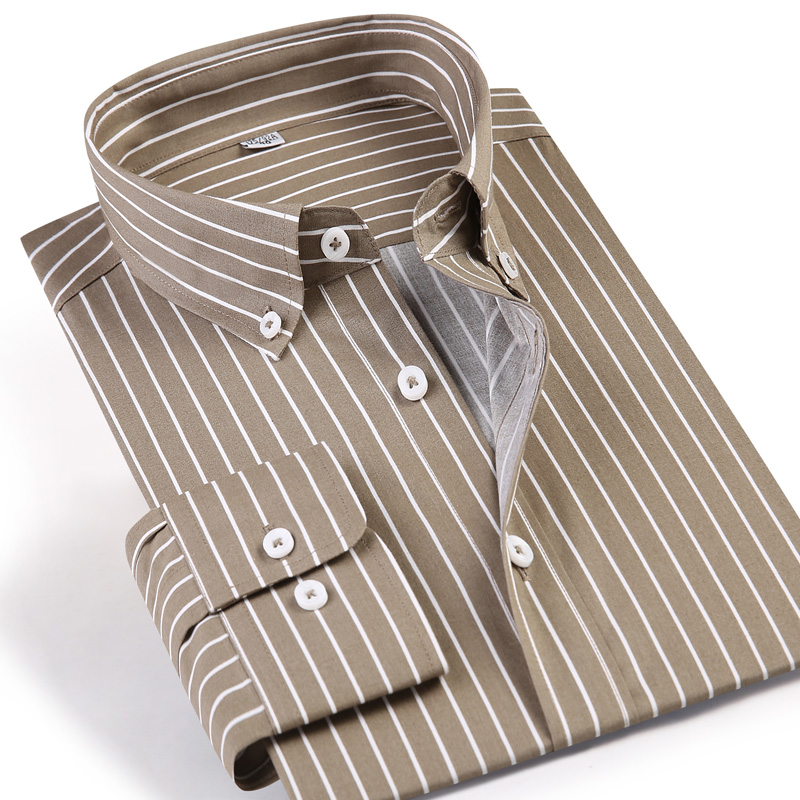 Men's Standard-fit Long-Sleeve Khaki Striped Casual Shirt Comfortable Button-down Collar Pocket-less Design Easy Care Shirts