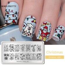 BORN PRETTY Christmas Nail Stamping Plates Polar Bear Rectangle Nail Art Printing Stamp Templates Stencil Tools Nail Design