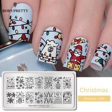 Geboren Mooie Kerst Nail Stempelen Platen Ijsbeer Rechthoek Nail Art Printing Stempel Sjablonen Stencil Gereedschap Nail Design