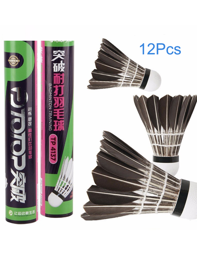 12pcs Badminton Shuttlecock Black And White Goose Board Feather Flying Stability Durable Badminton Led Airshuttle  Feathers Fly