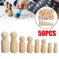 50pcs Creative Doll People Wooden Peg Dolls Toy Manual Painting Dolls Crafts Graffiti Unfinished Solid Wood DIY