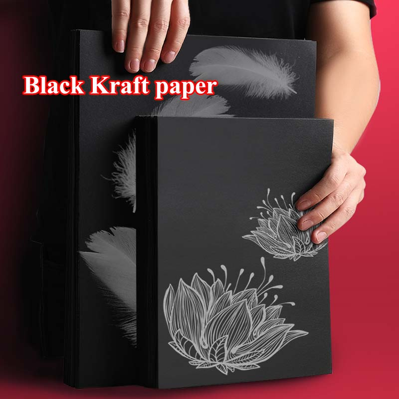 Multi-purpose 8k A4 Black Kraft Paper DIY Card Making Craft Paper Thick Paperboard Cardboard