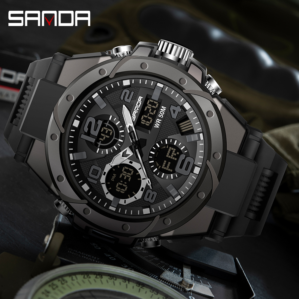 Hfb9a88e0a7d048f9946d09d30ca91057r SANAD Top Brand Luxury Men's Military Sports Watches 5ATM Waterproof