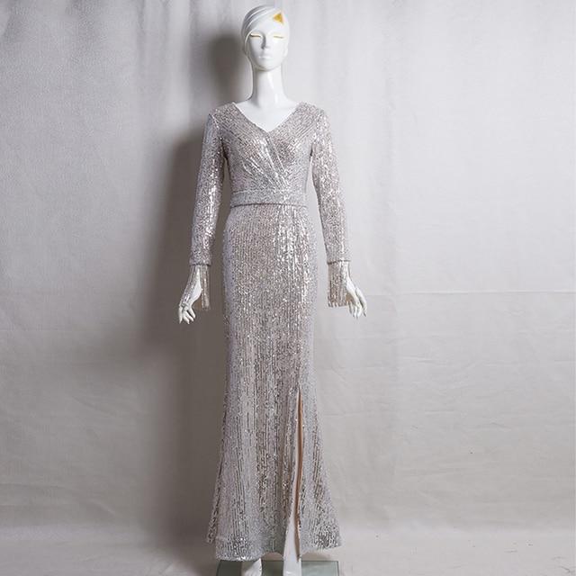 Long Sleeves Evening Gowns Champagne Gold V-neck Split Formal Dress K059 Long Mermaid Robe De Soiree 2020 Sequins Evening Dress 3