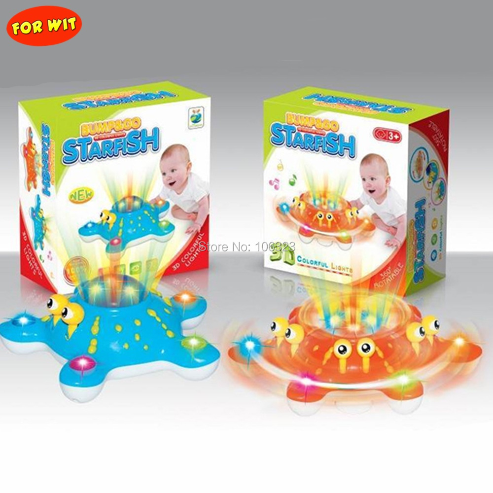 New Kid English Early Education Musical Colorful Flashing Starfish,Bump To Go 3D Fast Happy Spinning Sea Animal Toy, Direct Sale