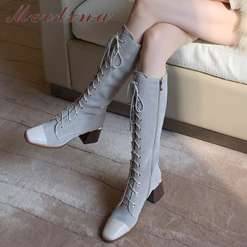 Meotina Cow Suede Real Leather Block Heels Knee High Boots Women Shoes Zip Square Toe Lace Up High Heels Long Boots Gray Size 40 meotina cow suede high heel short boots ankle boots women shoes square toe block heels zipper boots ladies black winter size 43