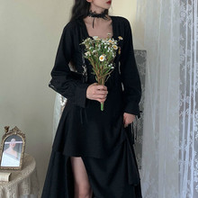 Black Split Dress Women Elegant Designer Gothic Dress Female Streetwear Irregular Ruffles Party Dress Autumn Clothes Women 2020