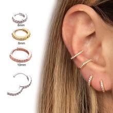Хирургические стальные драгоценные камни бесшовные шарнирные сегментные кольца кликер Хрящ уха нос/серьга для губы кольца 6 мм/8 мм/10 мм