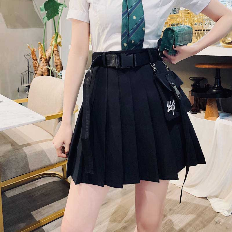 NiceMix Harajuku Dark Pleated Skirts Women Pocket High Waist Retro Mini Skirts 2019 New Fashion Streetwear Summer Female Skirts