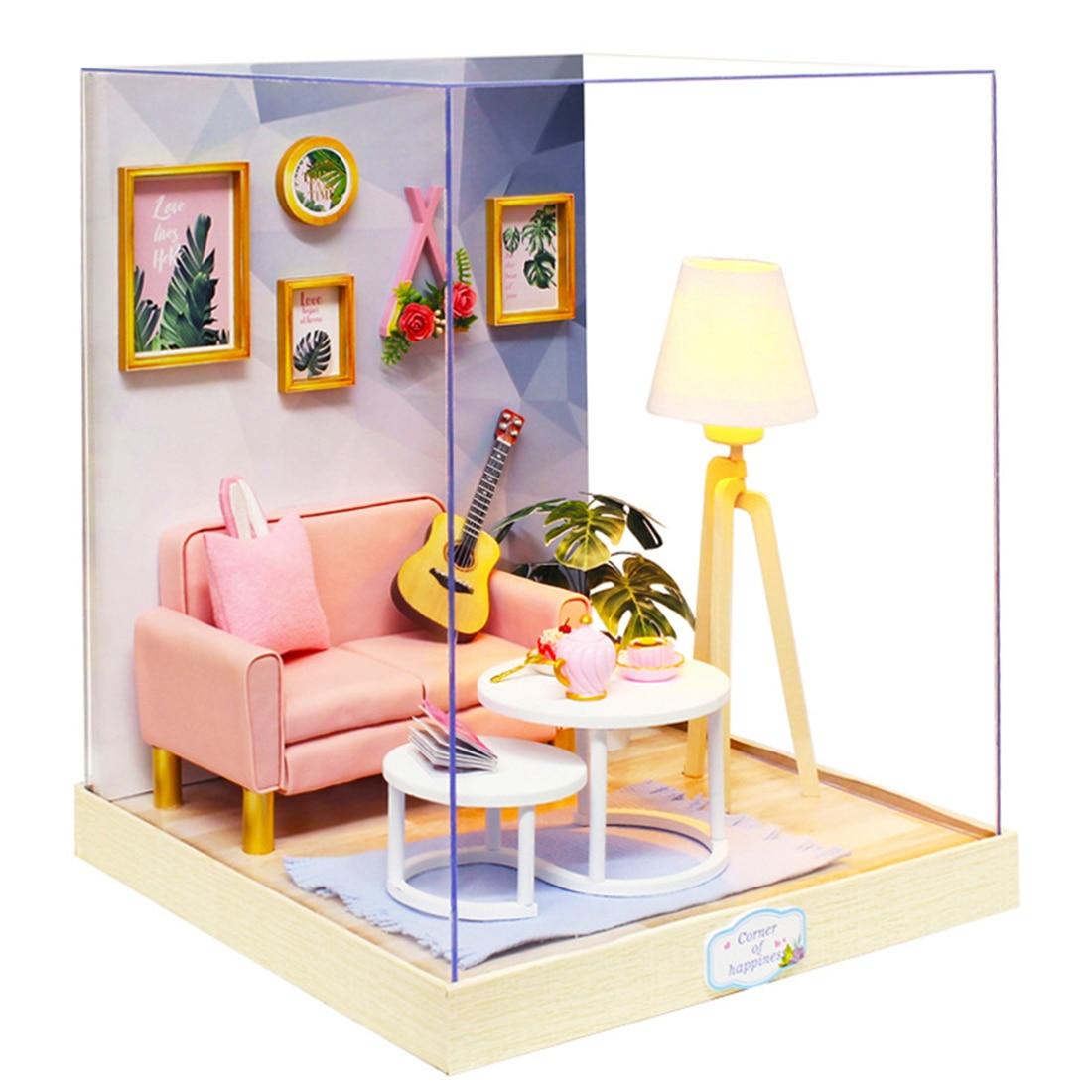 Bricolage cabine assemblé jouet modèle ensemble en bois maison de poupée artisanat à la main assemblée maison modèle cadeau avec couvercle anti-poussière-Tea Time