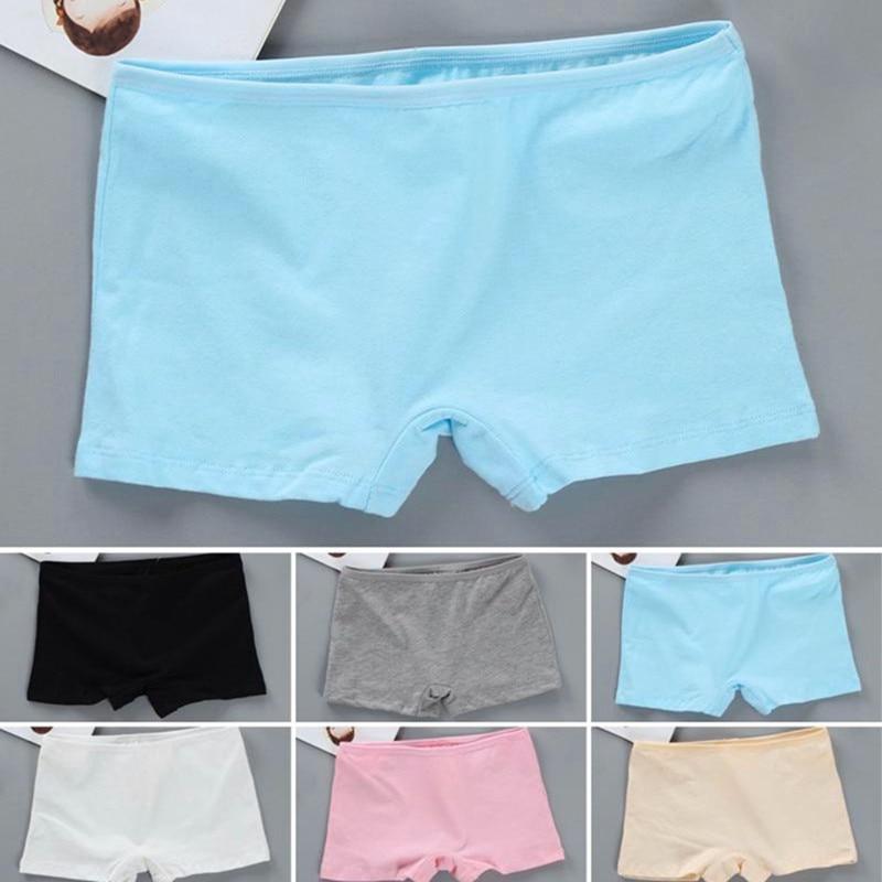 4Pcs/Lot Children Girls Panties Underwear Solid Color Boxer Teenage Shorts 10-18Years