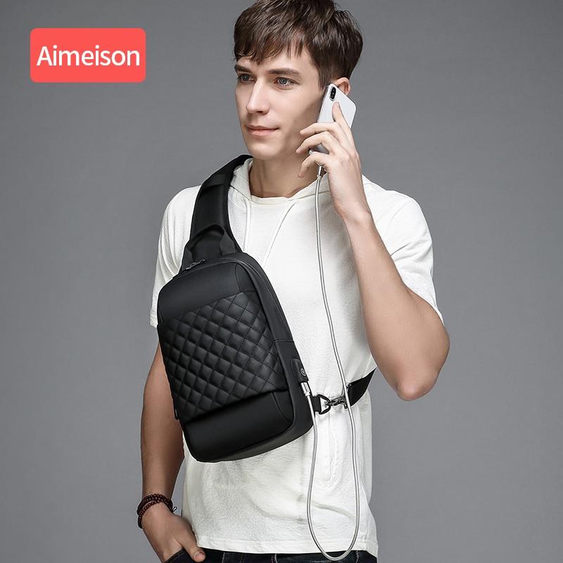 Multifunction Crossbody Bags Men USB Charging Chest Pack Short  Trip Messengers Chest Bag Water Repellent Shoulder Bag Male  -