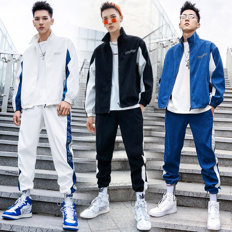 MEN'S Suit 2019 Spring And Autumn New Style Men Leisure Set Trend Sports Fold-down Collar Hong Kong Style Coat Two-Piece Set Men
