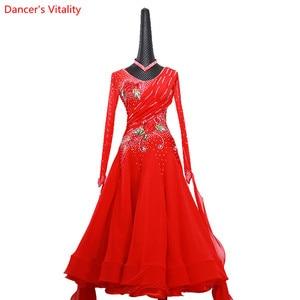 Image 3 - 女性ワルツダンス着用裾刺繍ダイヤモンドスプライシングドレス社交国家標準ジャズ、モダンダンスステージ衣装