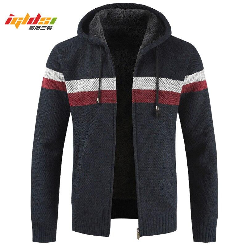 Men's Winter Thick Fleece Sweatercoat New Warm Hooded Cashmere Wool Liner Cardigan Clothes Striped Zipper Fleece Coat Size M-3XL
