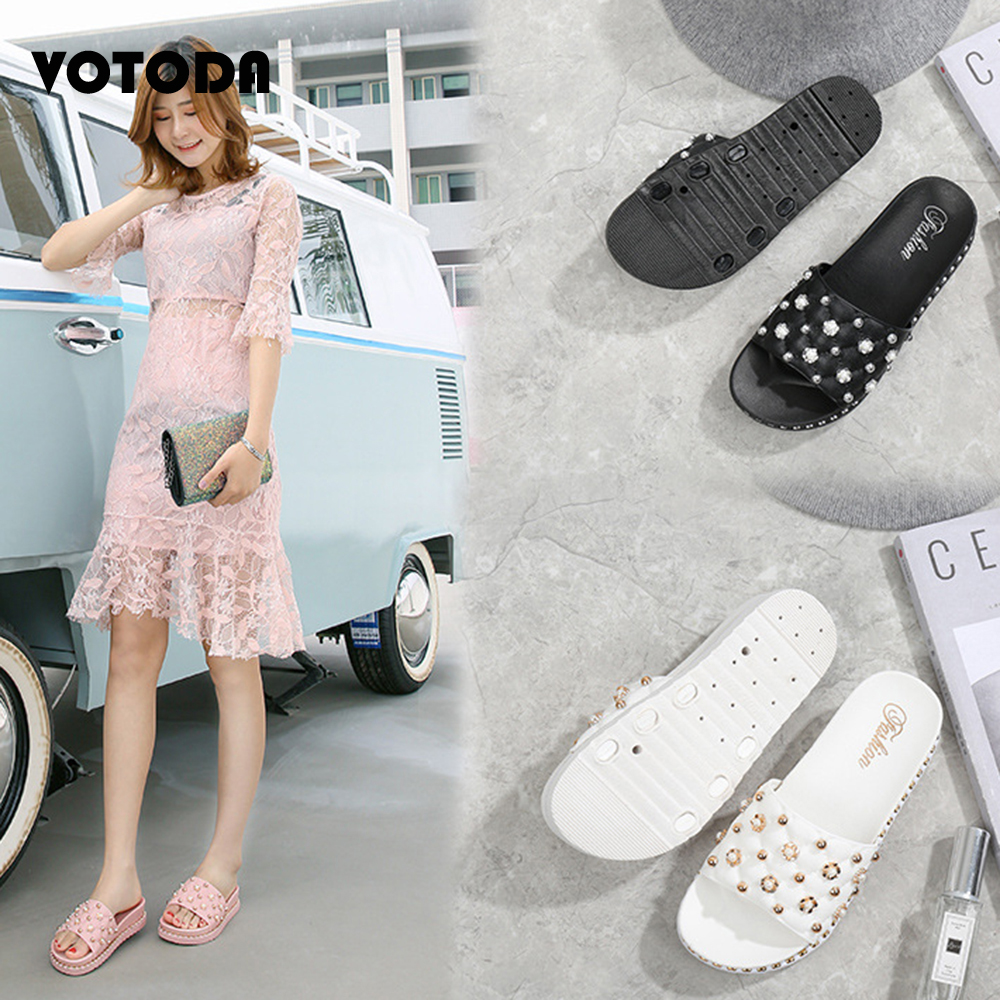 Slippers Women Summer Fashion Rhinestone Pearl Slides Slip Non Female Sandals Casual Beach Shoes Indoor Outdoor Ladies Flip Flop