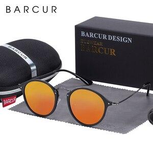 Image 4 - BARCUR Round Sunglasses Women Steampunk Sunglasses Polarized Woman Sunglases Retro oculos masculino