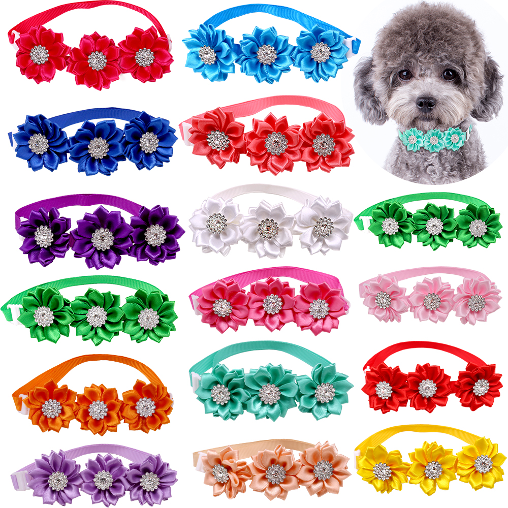 50/100pcs Dog Bow Tie Dog Flower Collar Diamod Dog Accessories Small Dogs Cat Puppy Bowtie Collar Dogs Bowties Pet Supplies