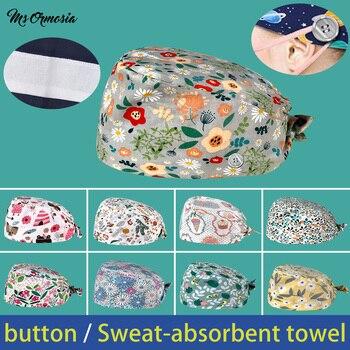 Wholesale with buttons cotton Elastic cartoon printing scrub hat lab beauty salon work hat summer breathable bandage scrub hats lab series invigorating face scrub