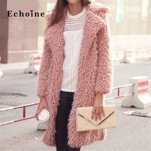 Echoine Women Coats Faux Fur Patch Pocket Open-Front Highstreet Outerwear Modern Lady Winter Elegant Cardigan Longline Jackets hidden pocket longline stripe dress