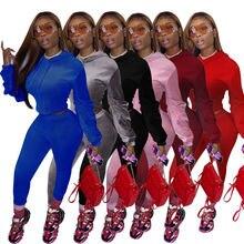 Бархатный спортивный костюм Однотонный женский комплект из 2