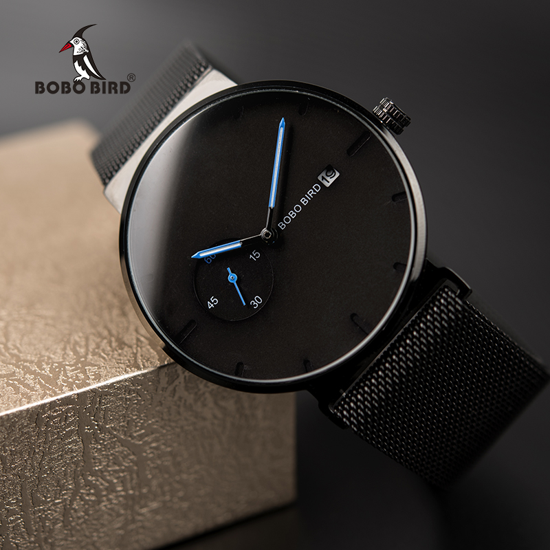 Male Watch Men Quartz Analog Timepieces Women BOBO BIRD magnetic Strap Blue Small dial relogio masculino Thin-in Quartz Watches from Watches