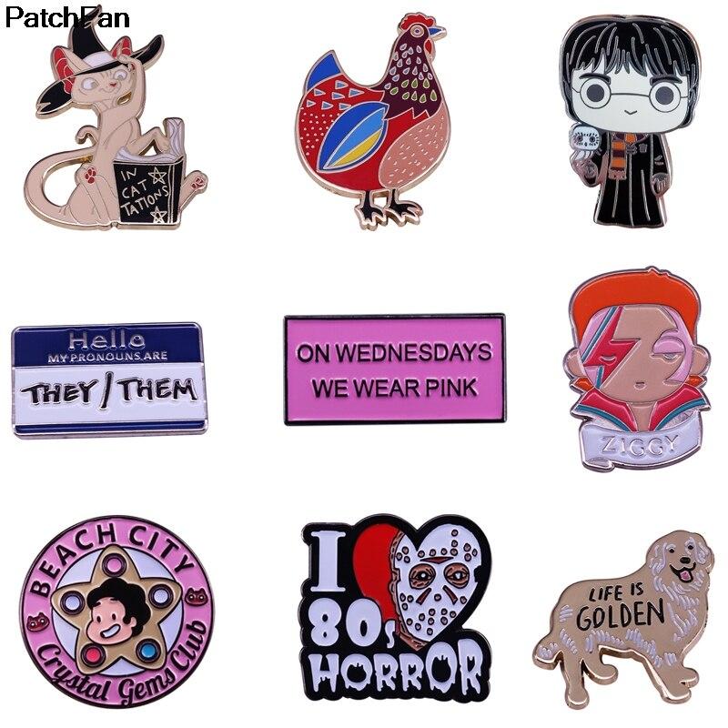 A3683 Patchfan Cartoon Dog Metal Horror Movie Enamel Pins And