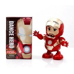 Горячие игрушки Мстители, танцующий Железный человек, супергерой, робот со светодиодной музыкой, фонарик, Тони Старк, электрическая фигурка...