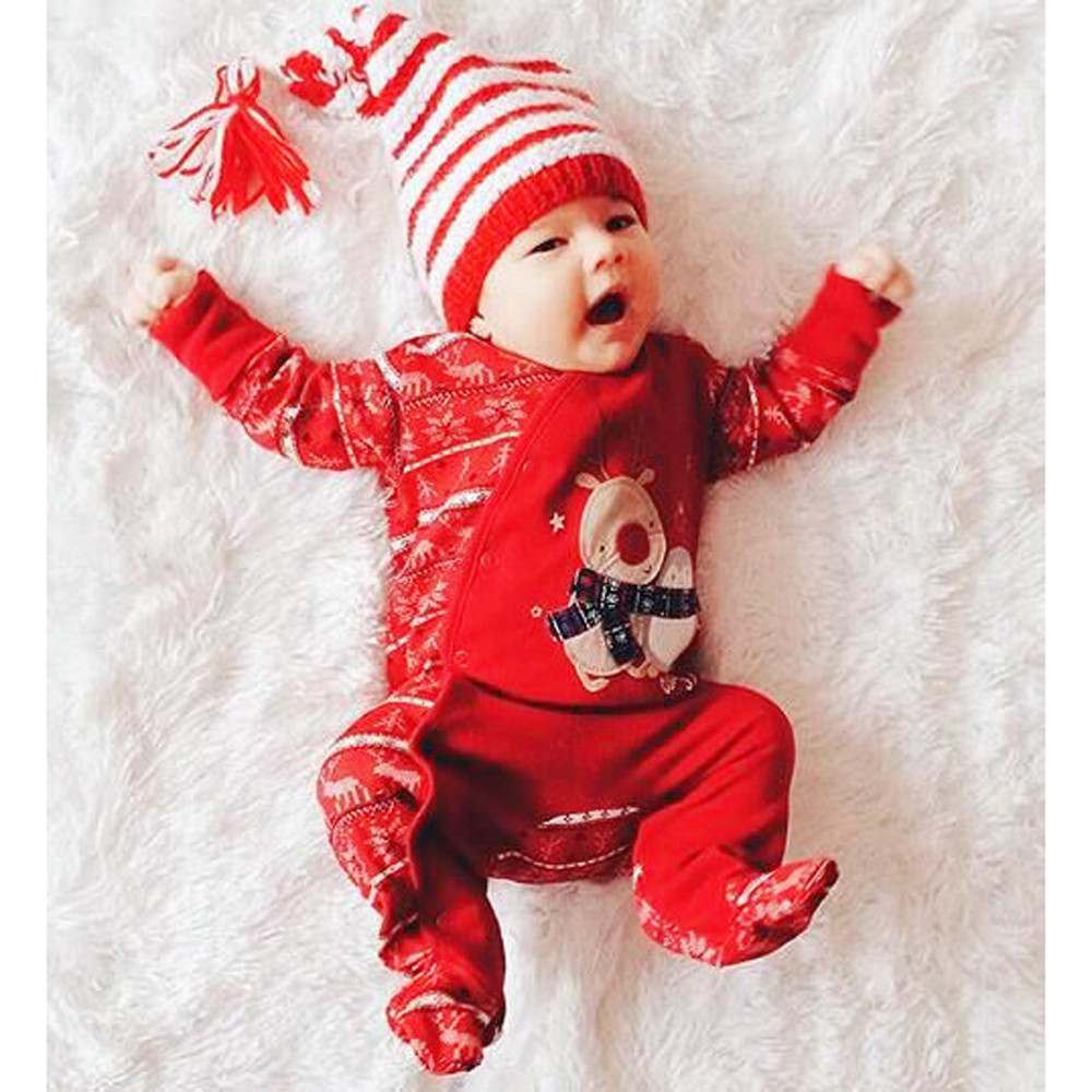Christmas Baby Romper Girl Boys Deer Print Jumpsuit New Year New Born Baby Costume Onesie Toddler Kids Winter Clothes 2019 19Sep