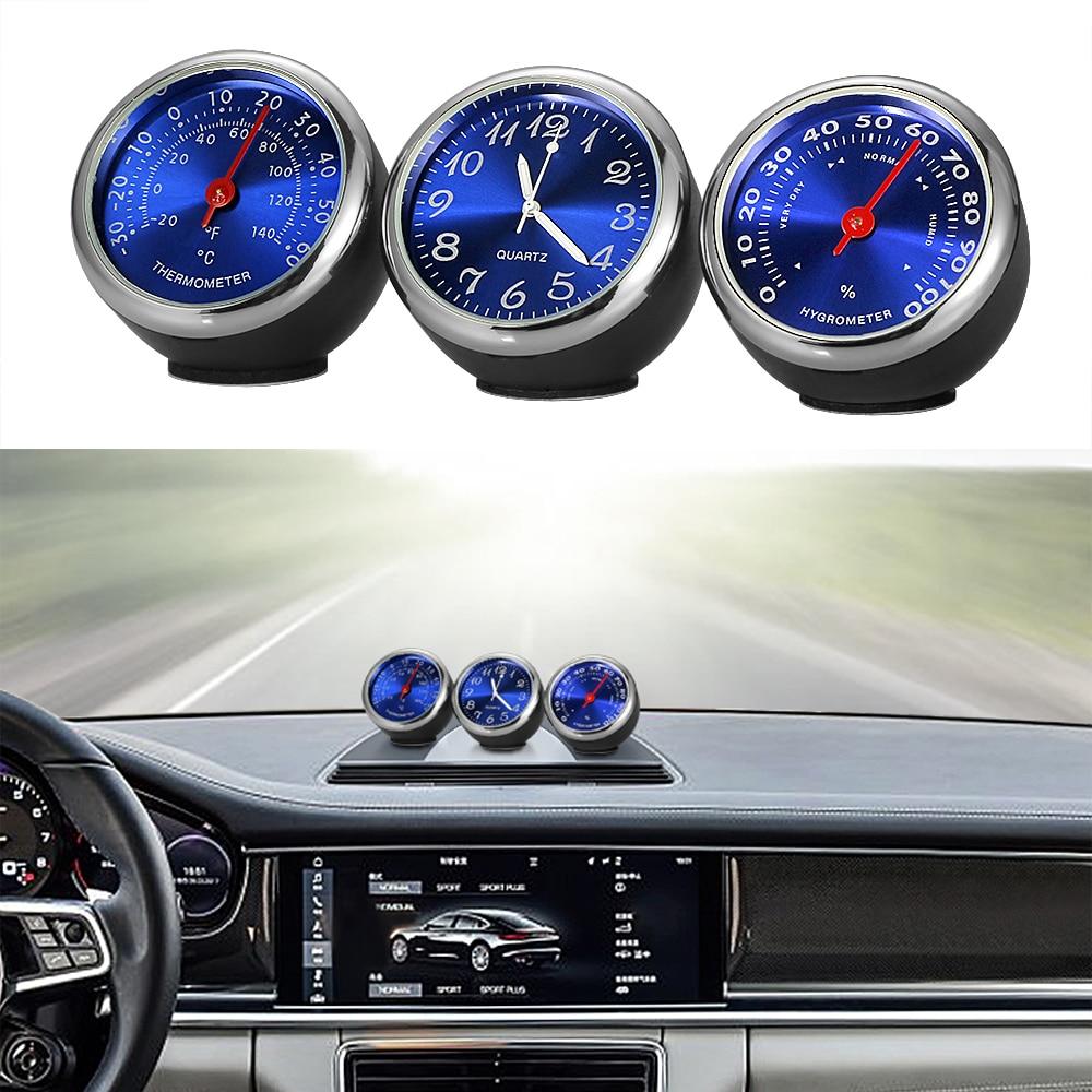 Reloj Automático para coche, termómetro, higrómetro, decoración Interior de automóviles, ornamento, reloj automotriz, accesorios para coche