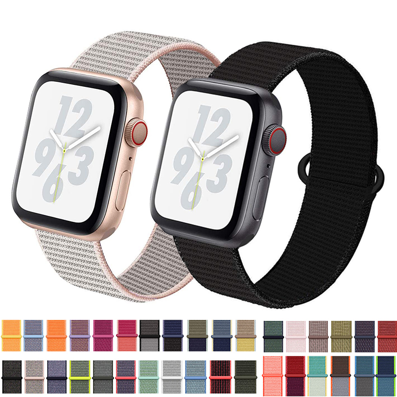 Band For Apple Watch 5 4 40MM 44MM 3/2 38MM 42MM Nylon Soft Breathable Sport Loop Strap For Iwatch Series Accessories