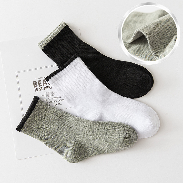 5pairs/lot Soft Cotton Baby Kids Socks White Black Girl Boys Socks Children Footwear Sports Casual Plus Size Teenager 3