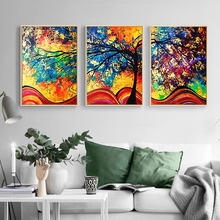 Yuke Art Wall Art Canvas Painting Colourful Leaf Trees abstract Picture Wall Art Poster For Living Room Home Decoration canvas painting poster colourful leaf trees 4 piece painting wall art modular pictures for home decor wall art picture painting