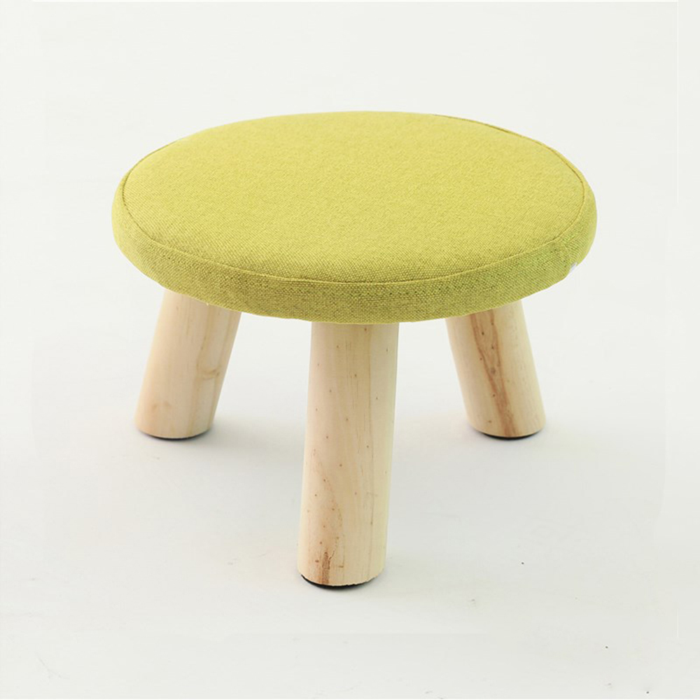 Solid Wood Footstool Change Shoe Bench Luxury Sofa Footrest Upholstered Ottoman Pouffe Seatting Stool with Wooden 3 Legs