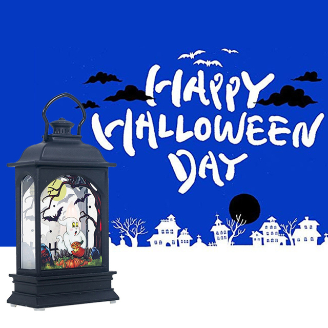 Halloween Hanging Lamp Vintage Pumpkin  Witch Castle Light Lamp Party Hanging Halloween Bar Party Home Decor LED Lantern Horror
