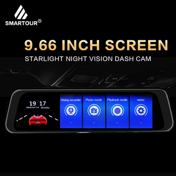 Smartour 9.66 inch Mirror 1080P Car DVR Stream Media Touch Screen Car Camera dash cam rear view camera Parking Monitor recorder