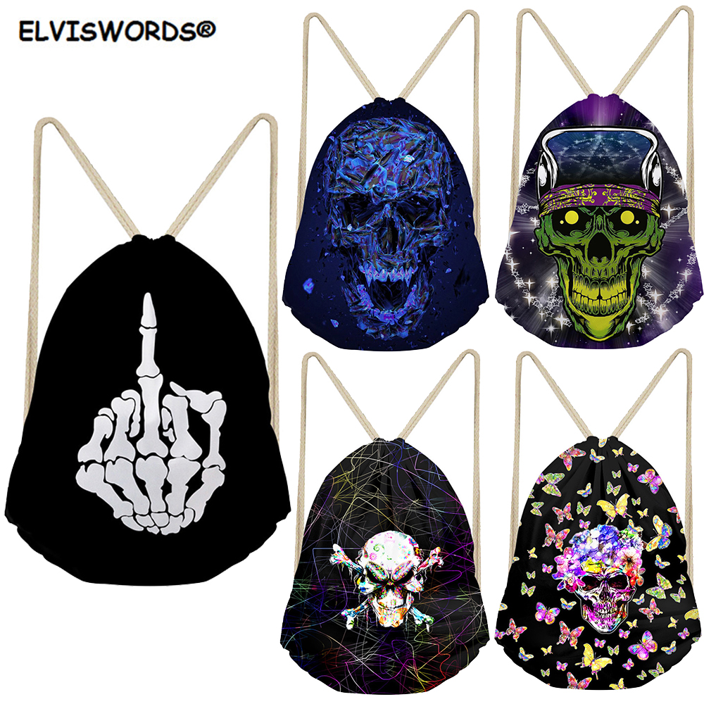 ELVISWORDS Gothic Drawstring Bag Skull Head/Hand Printed Bag School Bag For Boys Kids Customize Logo Gym Backpacks For Teenage