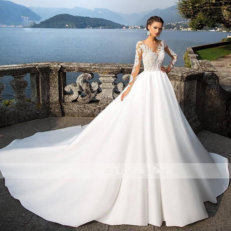 Vestido De Noiva Long Sleeve Vintage Wedding Dresses 2019 Sexy Appliques Chapel Train Matte Satin Lace Bride Gowns Bridal Dress