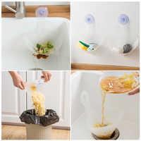 1Pc Kitchen Waste Filter Funnel Self-standing Sink Drain Strainer Foldable Sink Stopper Anti-Blocking Device Sponge Storage Rack