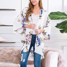 Женская Осенняя шифоновая рубашка с цветочным принтом кардиган