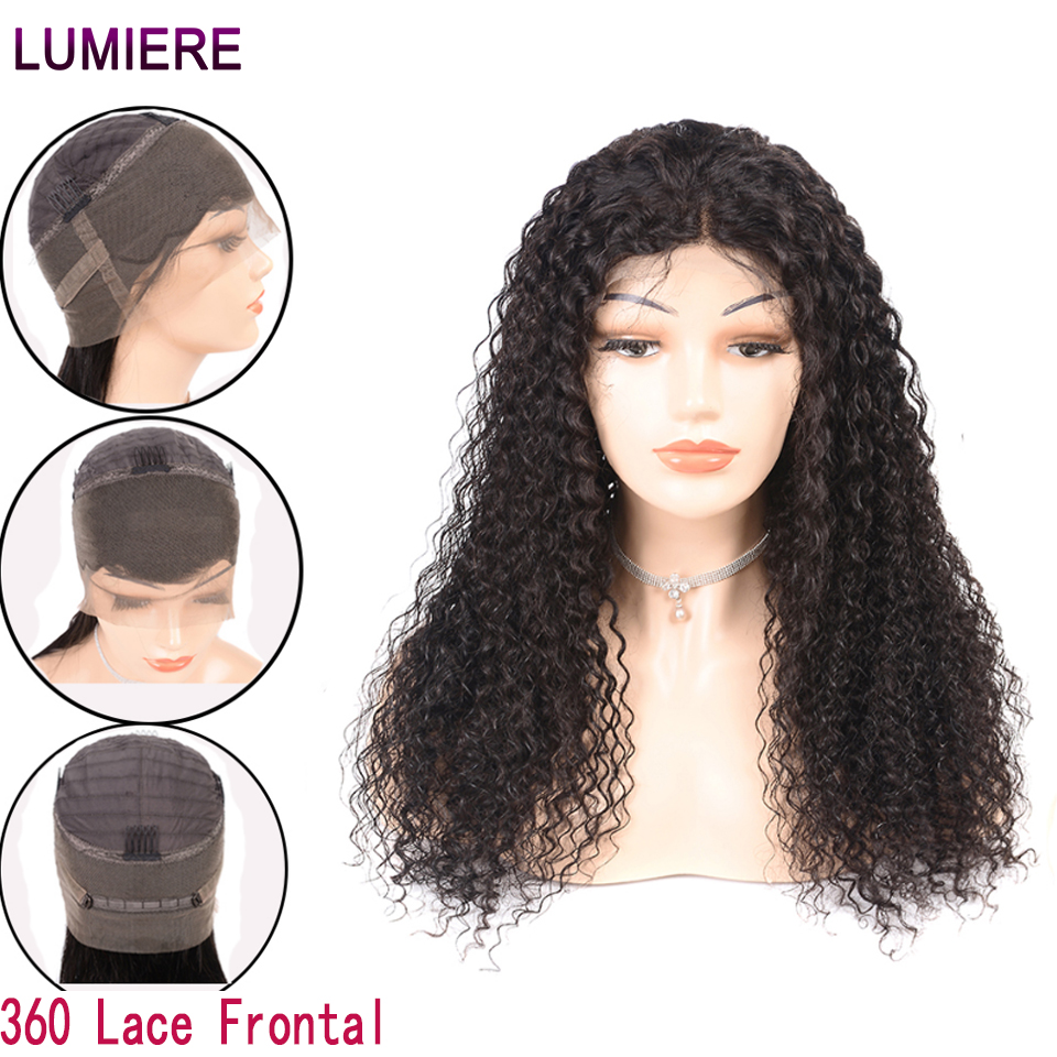 Lumiere Hair 360 Lace Frontal Wig Pre-Plucked With Baby Hair Malaysian Kinky Curly Wig Non-Remy 100% Human Hair Wigs For Woman